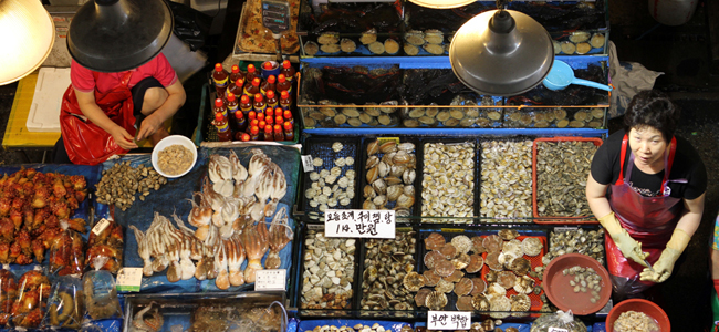 A woman looks up from her stall at the fish market in Busan, South Korea which contains all manner of seafood.
