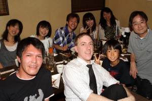 Friends and students having dinner at an Izakaya in Ina, Japan