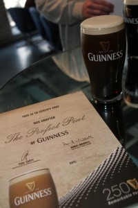 A pint of Guinness and a certificate saying I poured the perfect point.