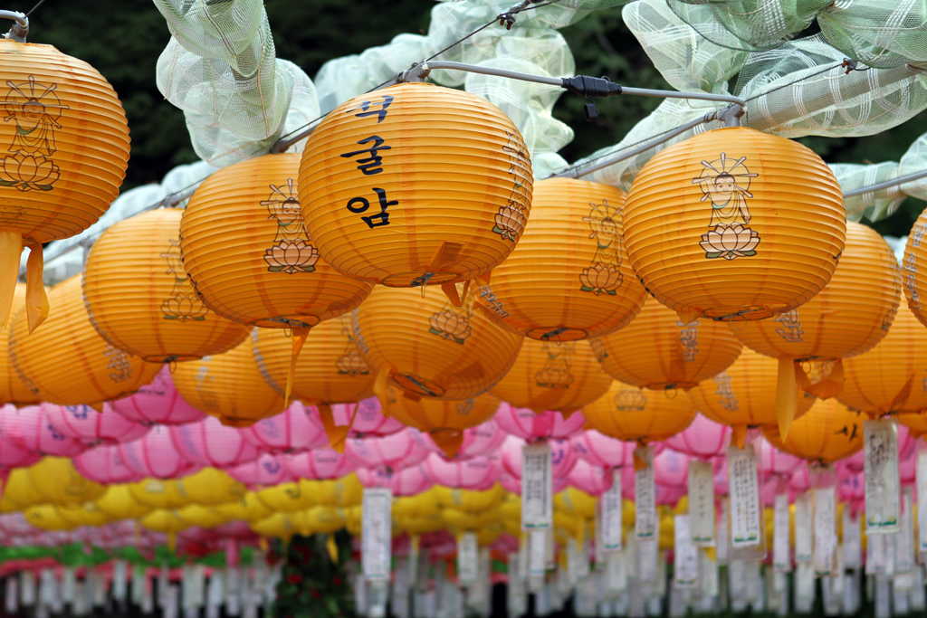 Lanterns hanging outside the Seokguram complex in Gyeongju, South Korea