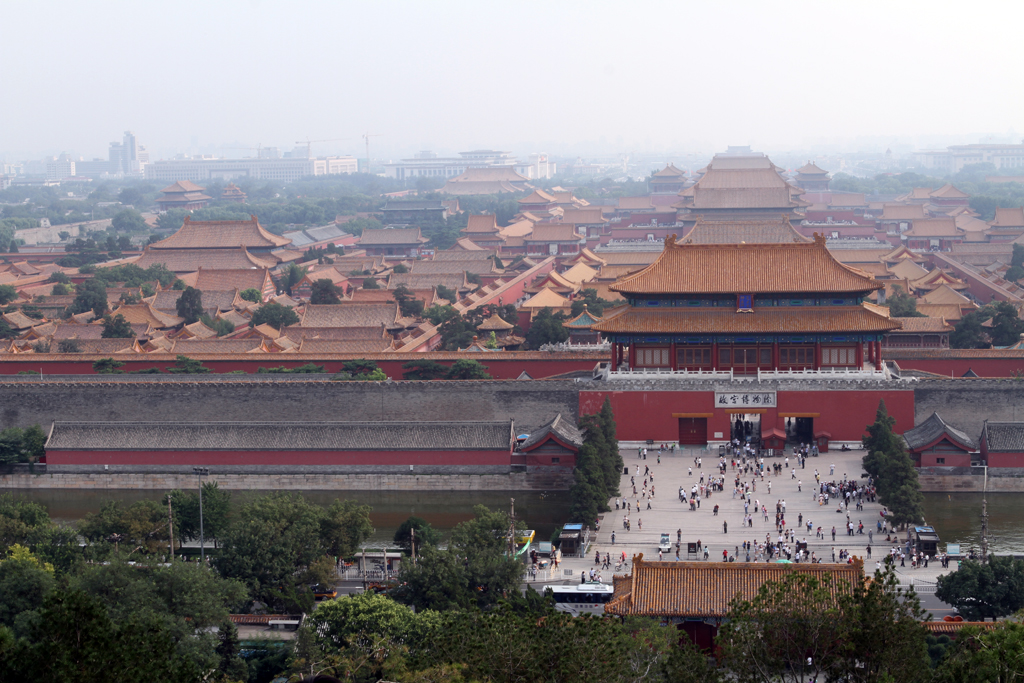 A wide shot of the Forbidden City in Beijing, China taken while Backpacking up a nearby hill.