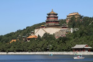 The main palace building overlooking the lake at the Summer Palace park.