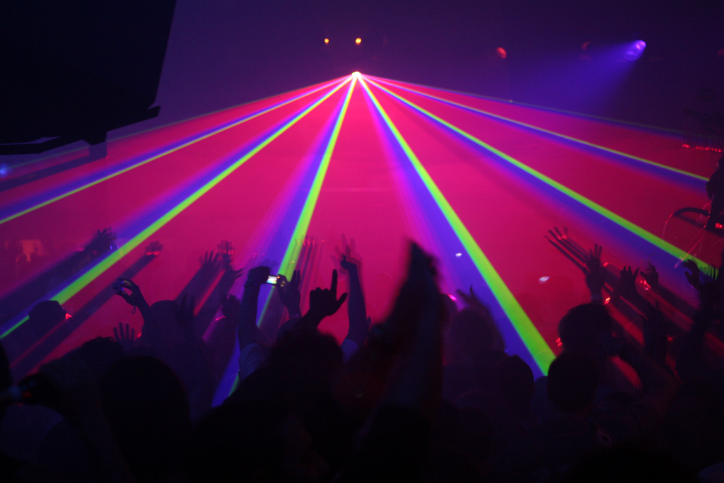 Laser light music show at Pasha in Ibiza, Spain