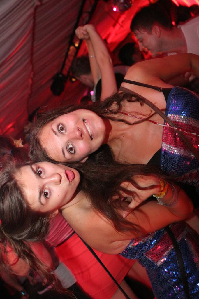 A couple crazy girls at club Eden, Ibiza