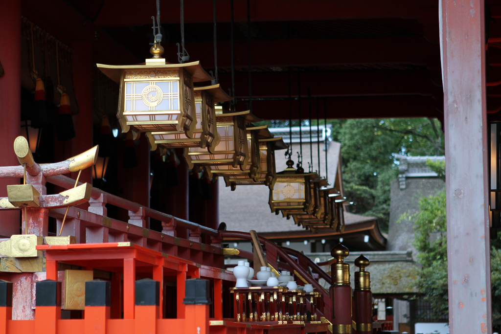 Hanging lights at a temple in Kyoto, Japan.