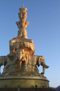 The Statue of Samantabhadra Bodhisattva at the top of Mt. Emei in China.