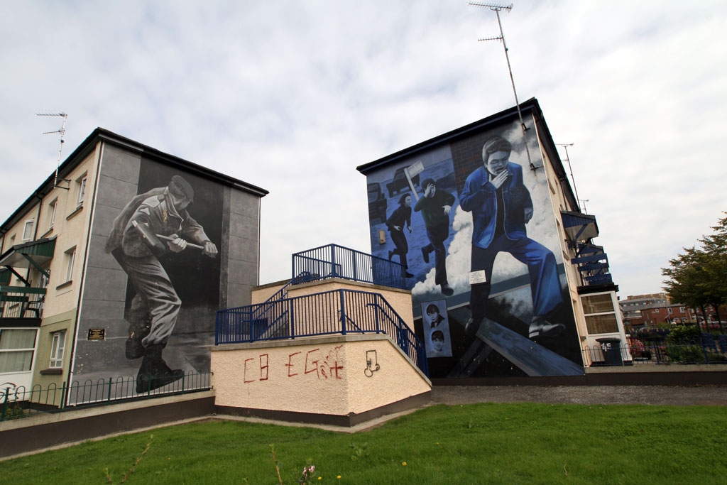 Two Irish murals in Derry