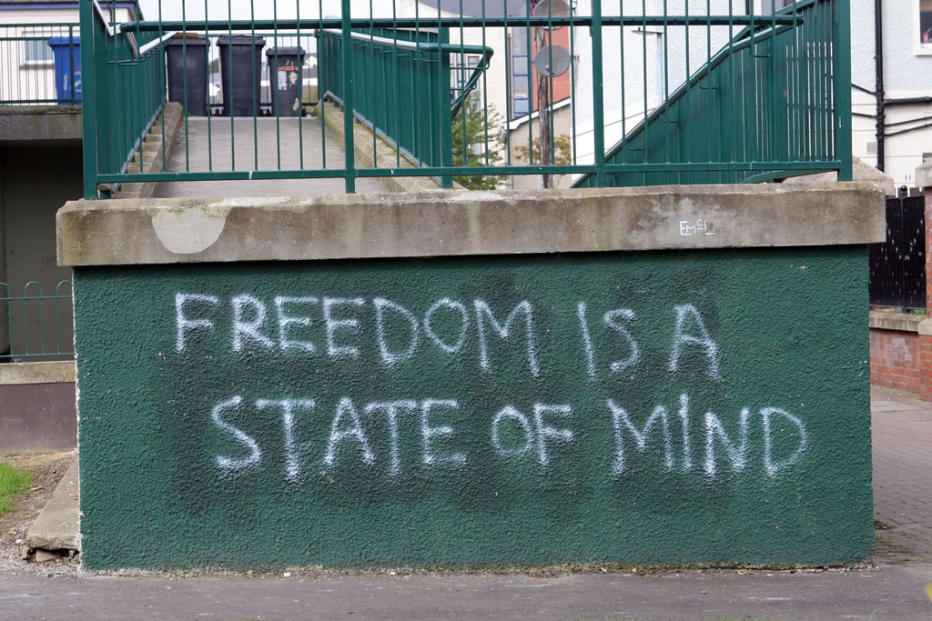 Freedom is a state of mind graffiti