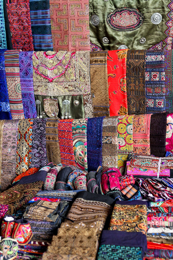 Chinese textiles on display at this stall.