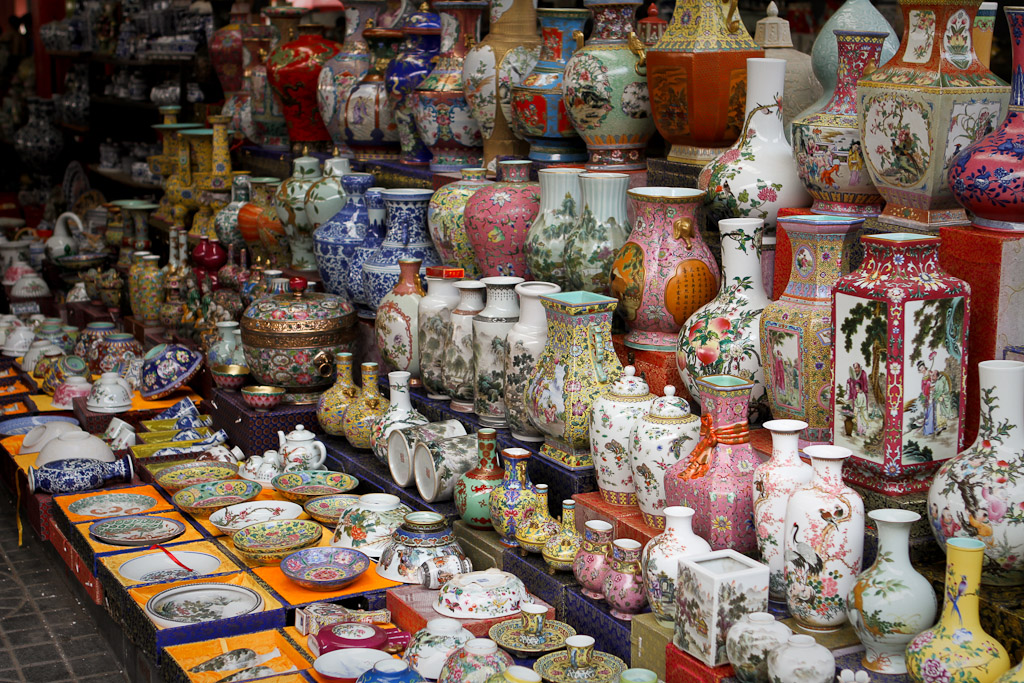 Rows of porcelain vases on risers at the Panjiayuan Flea Market