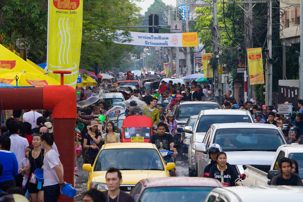 Busy Street during Songkran in Chiang Mai, Thailand