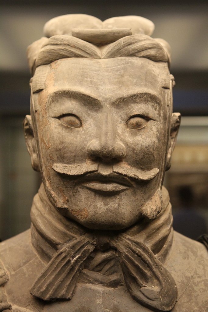 A close up of one of the life-sized Terra Cotta Warriors in Xi'an, China.  Over 8,000 warriors, each with a different face.