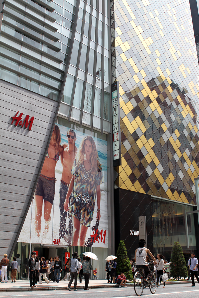 Western influence is shown clearly here in Ginza, the heart of upscale shopping in Tokyo.