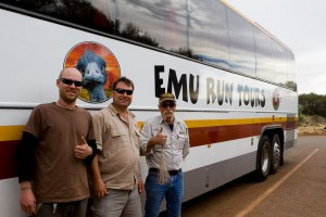 My tour guides and bus for the day trip to Uluru with Emu Run Tours.