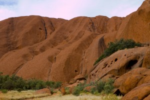 A closer view of the terrain of Uluru.