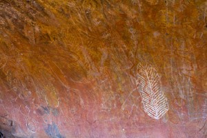 Aboriginal art on a wall at the base of Uluru.  These spots helped communicate local information to traveling Aboriginals.