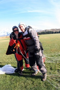 My tandem partner and I at the dropzone after landing.