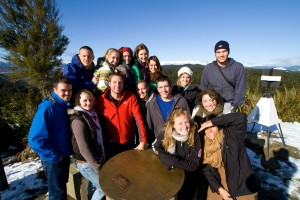 The Stray group at a lookout on the way from Abel Tasman to Cape Foulwind.
