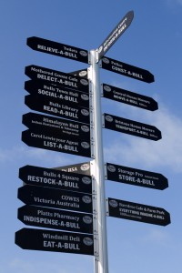 The signpost in Bull, New Zealand.