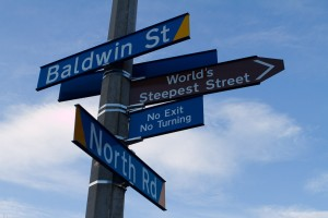 The sign post at the bottom of Baldwin Street, world's steepest street.