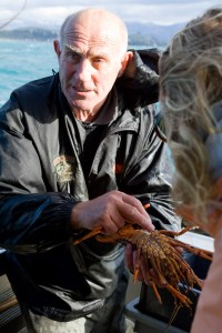 Gerry holding one of the 6 crayfish we pulled up from his traps.