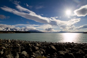 The sun over lake Taupo