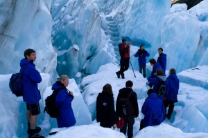 Our tour group being led around the Franz Josef Glacier