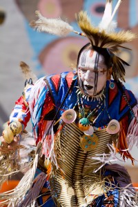 Fabian Fontenelle does a dance demonstration at the Albuquerque Indian Pueblo Cultural Center.