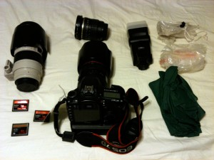 Canon 7D, Lenses, Flash and the rest that fit in the lower pocket.