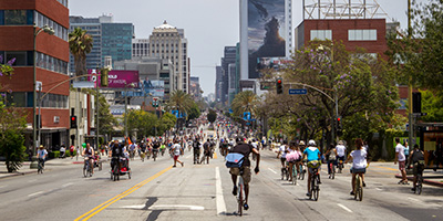 Riding down Wilshire Blvd. during the summer Los Angeles CicLaVia
