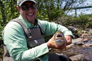 Chris Williams caught the most fish over our two days on the rivers of Canada.  Here was his first catch of the trip.