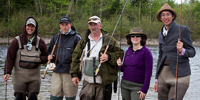 Five fly fisherman – from left to right, Chris Williams, Joe Nelson, Brad Hodkinson, Amy Moore and Dylan Lowe