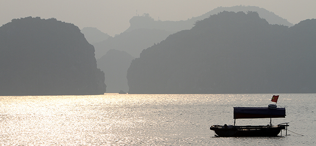 A local fisherman's boat in Ha Long Bay
