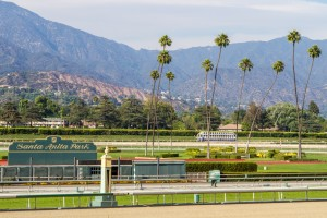 The view of the track at Santa Anita Park