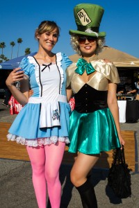 Alice and the Mad Hatter in attendance at the market.