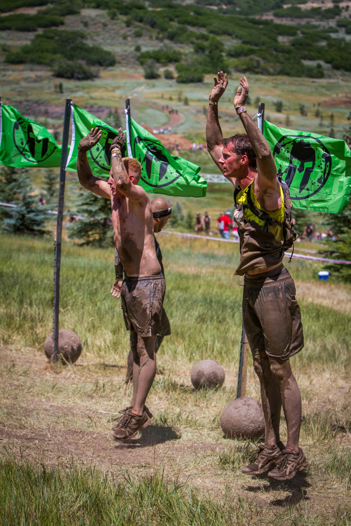 If you can't finish an obstacle, or choose not to, the alternative is 30 burpees.  These burpees, however, were part of the obstacle.
