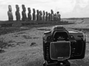 Camera on Tripod in Easter Island.