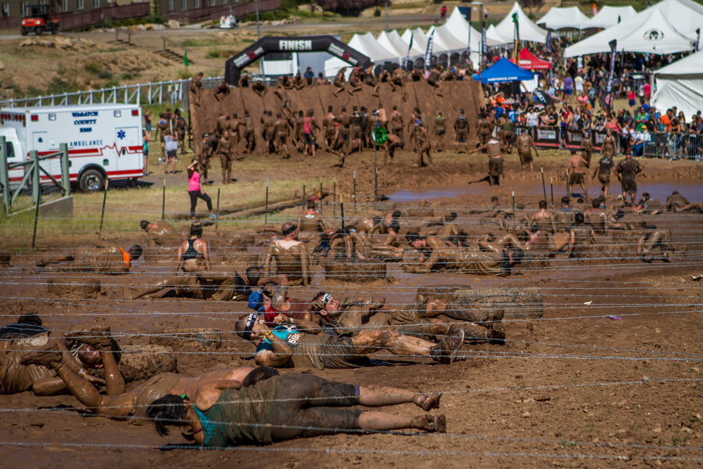 The final mud crawl was about the length of a football field under barbed-wire.
