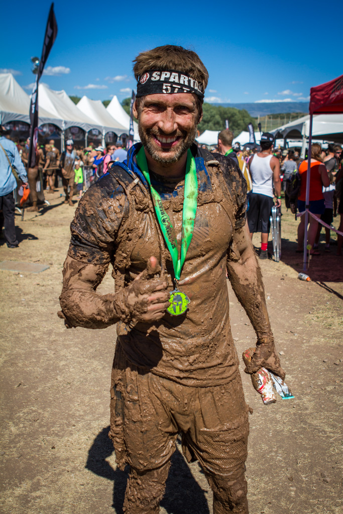 All smiles, this Spartan participant gives a thumbs up after the race.  I bet he can't wait for the next one.