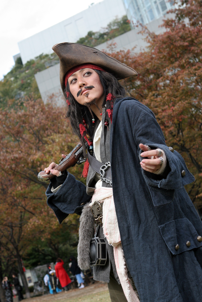 A Japanese girl is dressed up as Jack Sparrow from Pirates of the Caribbean during a cosplay festival in Fukoka, Japan.