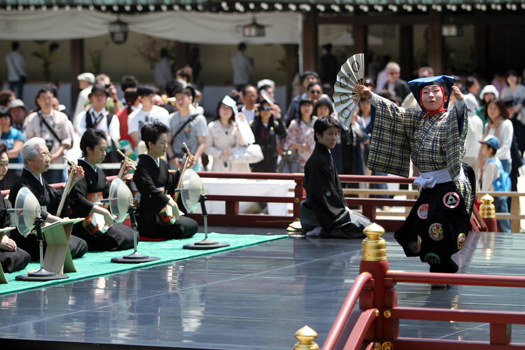 A traditional dance performance at Meiji Shrine in Tokyo during Golden Week