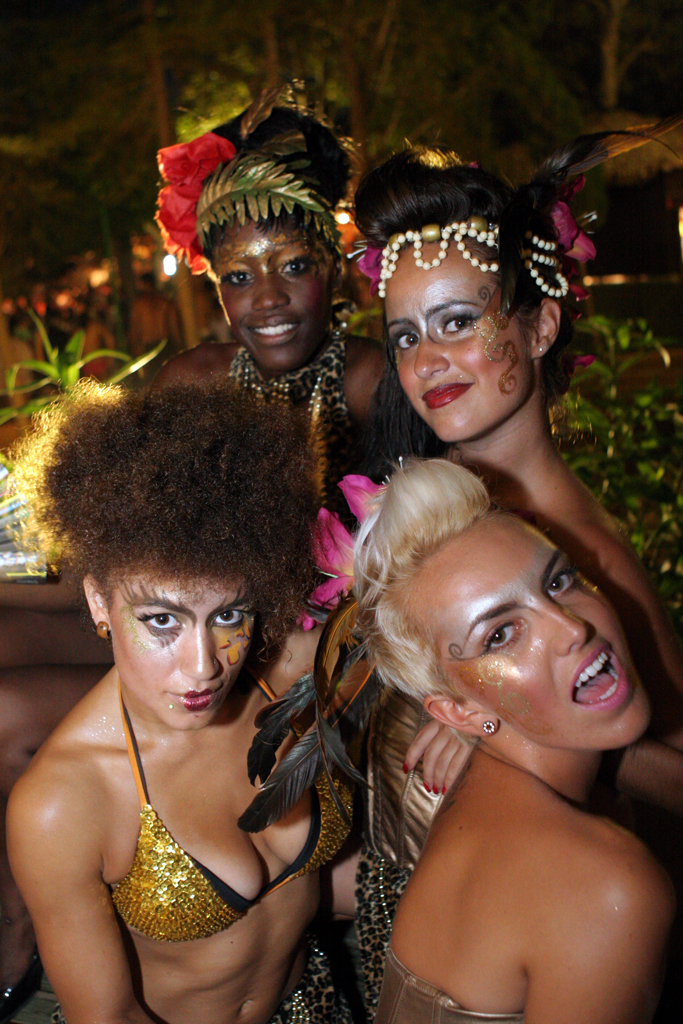 Four girls pose at Ibiza's Zoo Project
