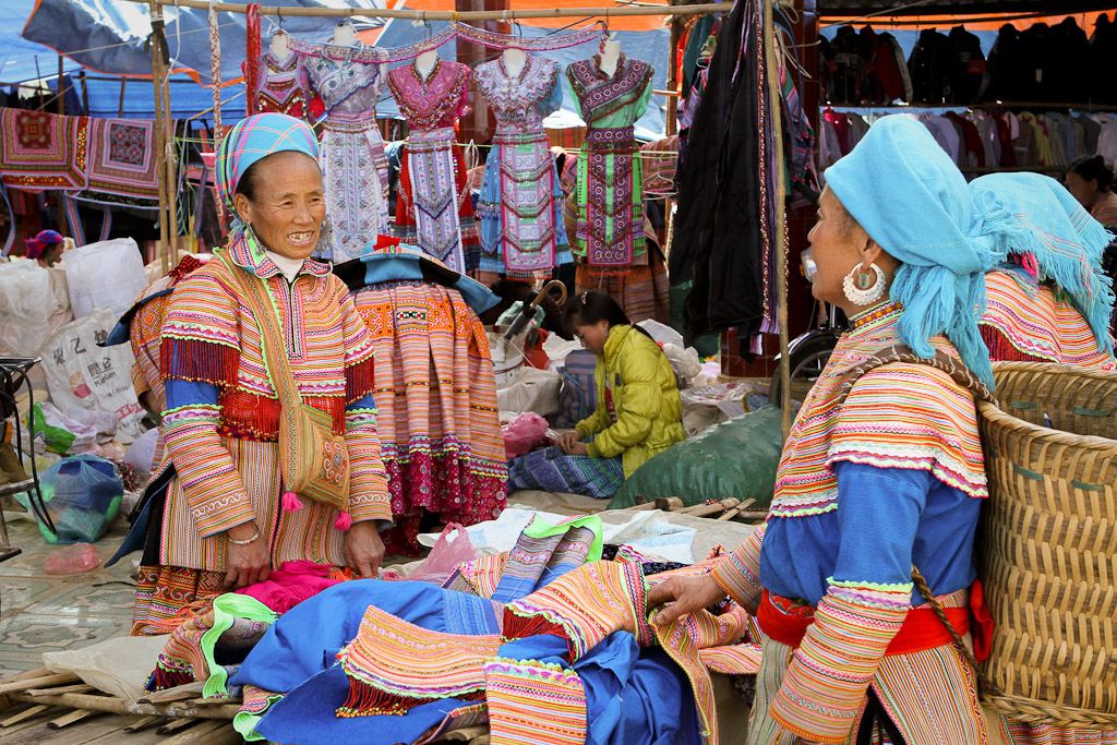 The market focuses on traditional clothing for locals.