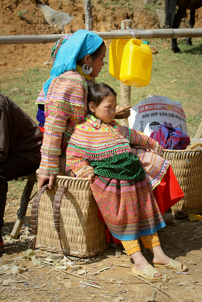 It's been a long day at the market. You might notice that they use human hair as the straps used to carry their baskets.