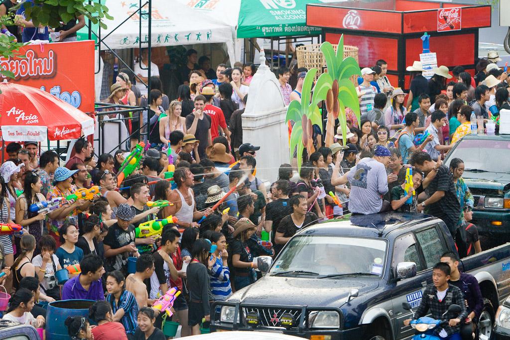 A water fight on a busy Street during Songkran in Chiang Mai, Thailand