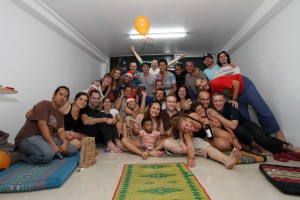 The worldly backpackers and flashpackers that attended Christmas Day dinner at Tailek's house in Bangkok.
