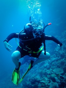 Gudrun, my diving buddy, hamming it up for the camera