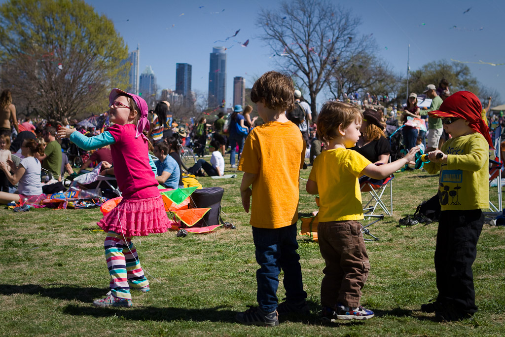 Four kids control a kite