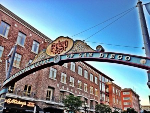 The entrance into the Gaslamp Quarter of downtown San Diego
