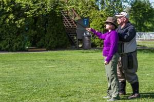 Brad Hodkinson teaches Amy Moore proper fly fishing technique